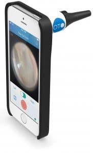 The CellScope Oto attachment and app. Photo courtesy of CellScope.