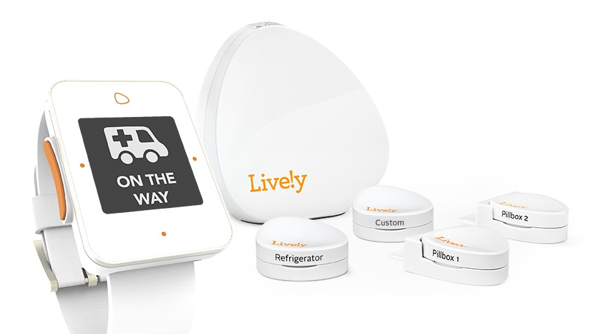 The Lively safety watch, hub and sensors. Image via MyLively.com.