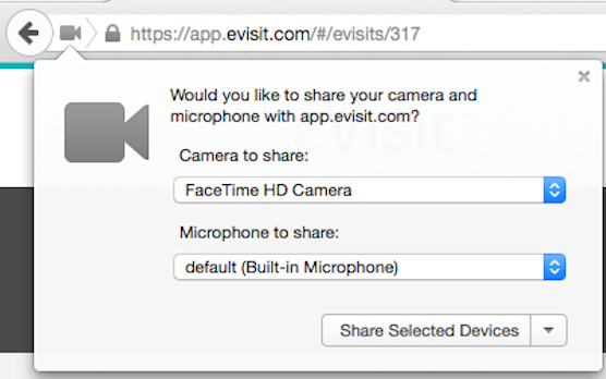 evisit telemedicine allow camera browser prompt