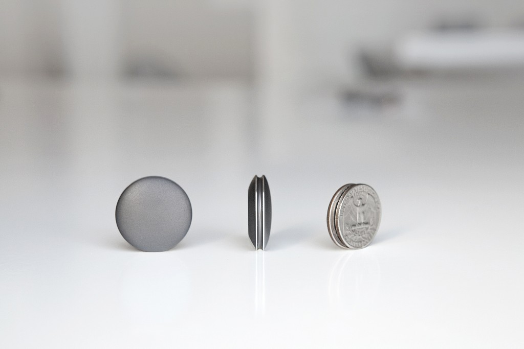 The Shine fitness and sleep tracker is just a little bigger than a quarter. Photo courtesy of Misfit.