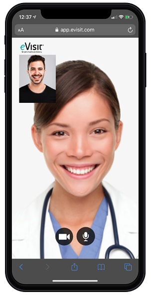 A female provider speaking to a male patient with eVisit Mobile Web Experience on an iPhone.