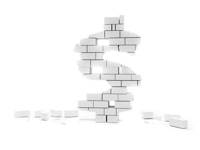 Dollar symbol built on bricks collapsing isolated over white